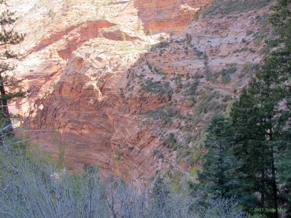 Switchback up the Hidden Canyon Trail (lower right)