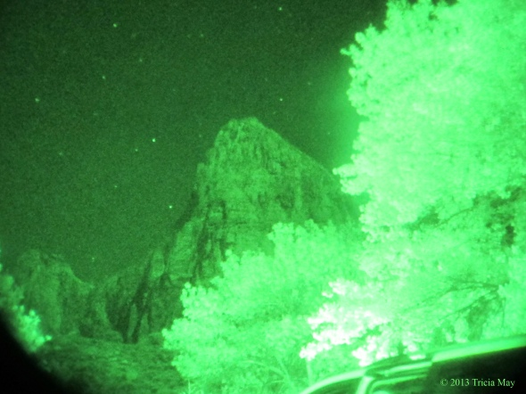 View from our campsite with night vision goggles.