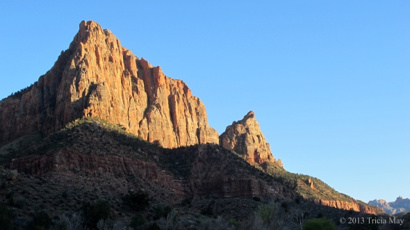 View from the Watchman trail as the sun begins to set