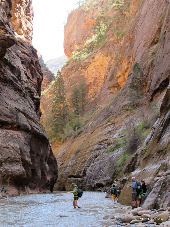 People heading into the Narrows