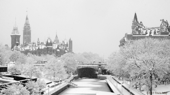 The Rideau Canal with Parliament and the Chateau Laurier Hotel