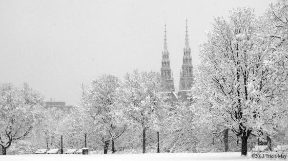 Notre Dame Basilica through Major's Hill Park