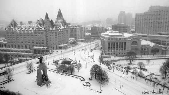 Early on a snowy Sunday morning in downtown Ottawa