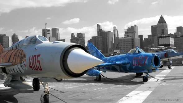 Mikoyan Gurevich MiG-21 PFM and MiG-17 on the USS Intrepid