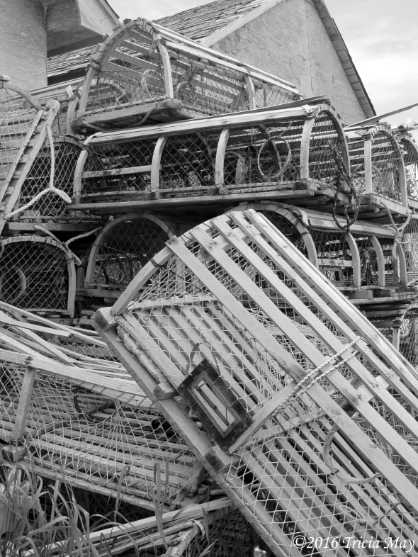 lobster-traps-bw