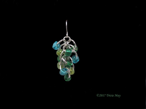 Earrings - Beads-light green, dark green, light blue ©