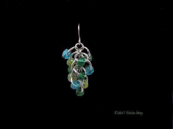 Earrings - Beads-light green, dark green, light blue ©