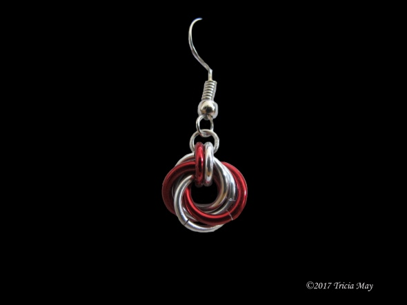 Earrings - Mobius-Red and silver ©