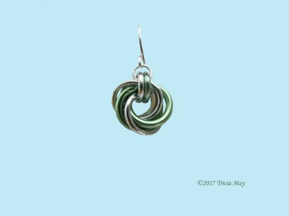 Earrings - Mobius-Silver and Green ©